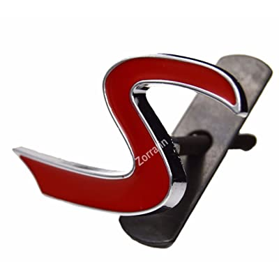 Metal Red S Lettering Front Grille Grill Chrome w/Mount Emblem Badge for MINI Cooper R50 R53 R55 R56 R57 R59 F56 F55: Automotive