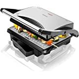 Cecotec 03023 Panini Grill - Parrilla eléctrica, plancha y sandwichera, 1000W, Acero/Negro