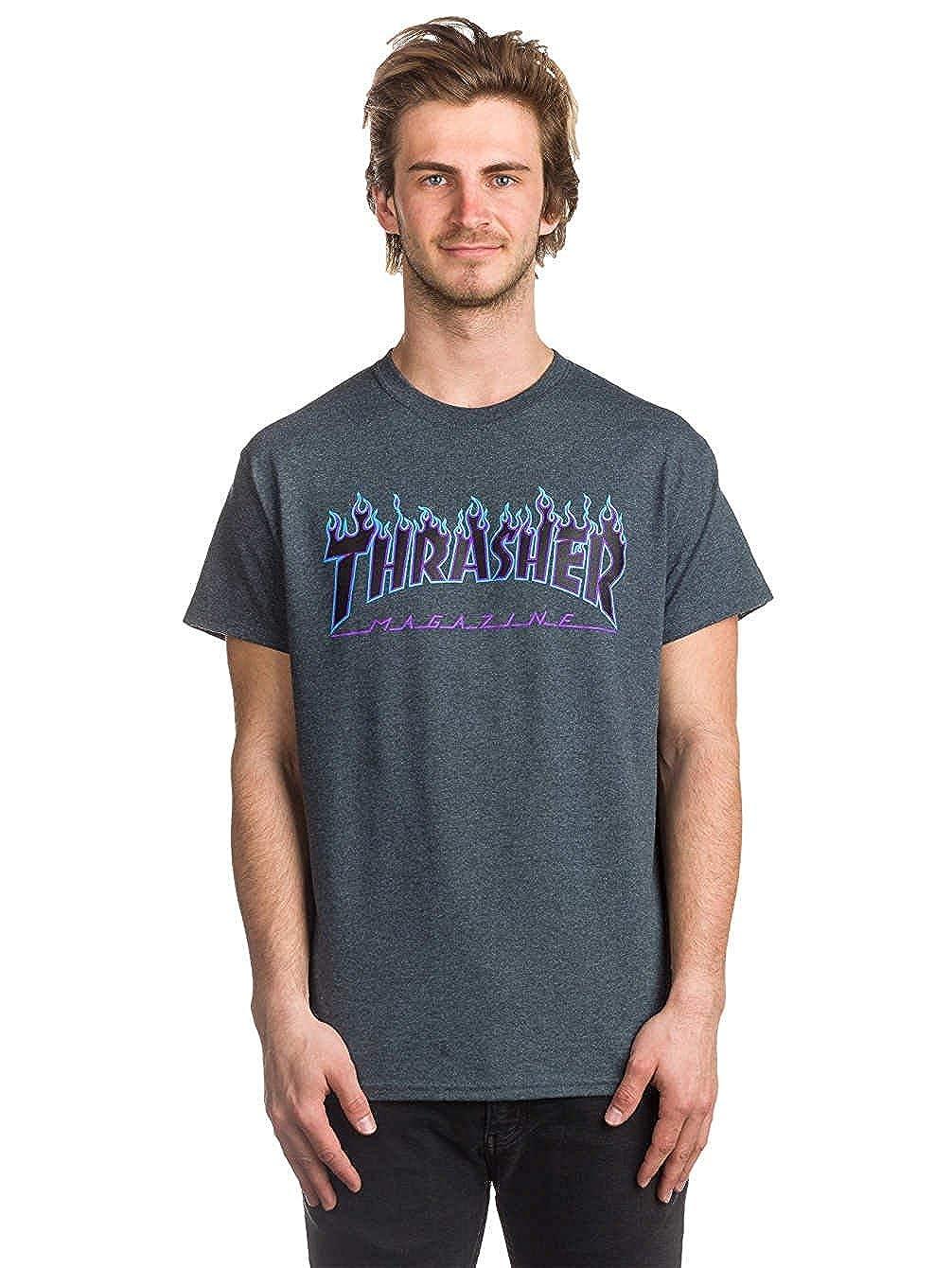 5aa04c17347d Thrasher Skateboard Magazine Flame T-Shirt (Dark Heather) | Amazon.com