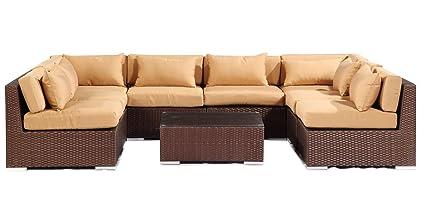 Miraculous Kardiel Espresso Wicker Outdoor Garden Furniture Modern Sofa Sectional Modify It Aloha Oahu 9 Piece Set Taupe Machost Co Dining Chair Design Ideas Machostcouk