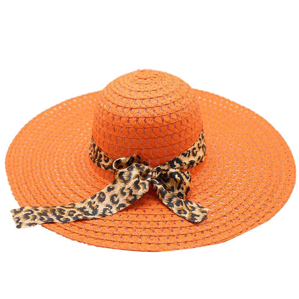WUAI Womens Wide Brim Straw Hats Leopard Print Sun hat Folding Travel Beach Cap(Orange,Free size)