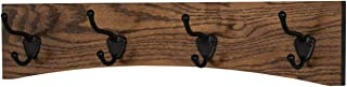 "product image for PegandRail Oak Curved Back Wall Mounted Coat Rack - Bronze Hooks - Made in The USA (Walnut, 20"" x 4.5"" - 4 Hooks)"