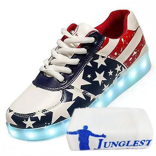 (Presente:pequeña Toalla) JUNGLEST® Unisex Hombre Zapatos de luz LED 7 Colores de Manga Corta para Mujer con Mueble para Dispositivos audiovisuales Luminosa ...