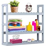 Bathroom Shelf 3-Tier Wall Mount Shelf Over Toilet Storage Rack Adjustable Layer Free Standing Plant Stand Towel Holder Living Room Kitchen Gray by Domax