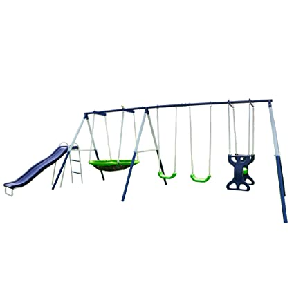 f56fe75d1 Amazon.com  Sportspower Rosemead Metal Swing and Slide Set  Toys   Games