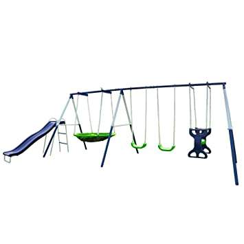 Amazon Com Sportspower Rosemead Metal Swing And Slide Set Toys Games
