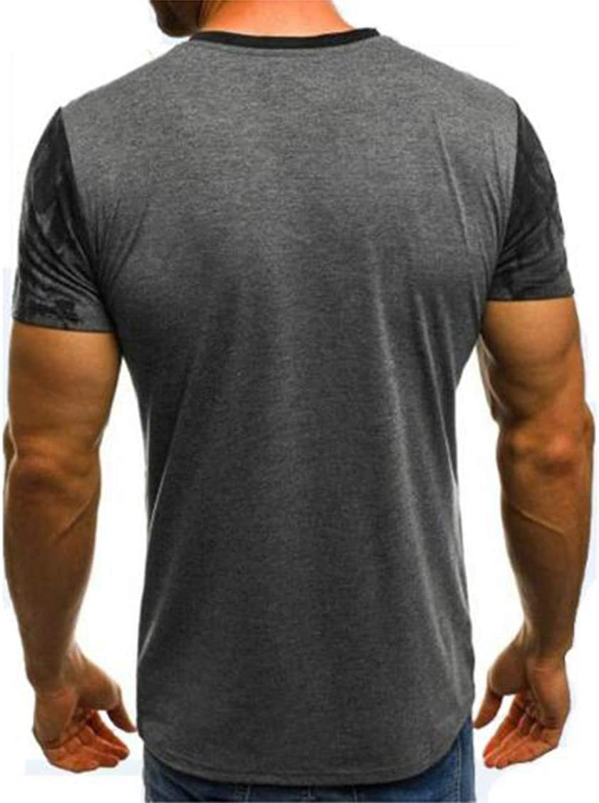 Secret night Summer Mens Fashion Sports Fitness Camouflage Short Sleeve T-Shirt Comfortable Breathable Round Neck T-Shirt,Gray,4XL