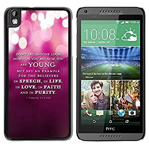 PC/Aluminum Funda Carcasa protectora para HTC DESIRE 816 BIBLE 1 Timothy 4:12 Esv Young Speech Life Faith Purity / JUSTGO PHONE PROTECTOR