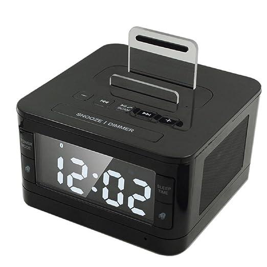 Bzng Reloj Despertador Doble con Altavoz/Cargador USB/Radio ...