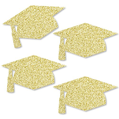 Gold Glitter Grad Cap - No-Mess Real Gold Glitter Cut-Outs - Graduation Party Confetti - Set of 24 by Big Dot of Happiness