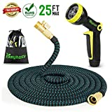 Easyhose Water Hose-25ft Lightweight Expandable Garden Hose-No Twist&Kink-Brass End Fittings+2017 New Design 9 Pattern Free Bonus Spray Nozzle with Storage Bag for Home&Garden Use (25ft, Black+Blue) For Sale