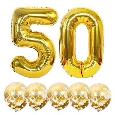 Eokeanon Number 50 and Gold Confetti Balloons, 40 Inch Gold Number 50 Balloon with 5PCS 12 Inch Gold Confetti Balloons for 50th Birthday Party Decorations 50th Anniversary Décor: Toys & Games