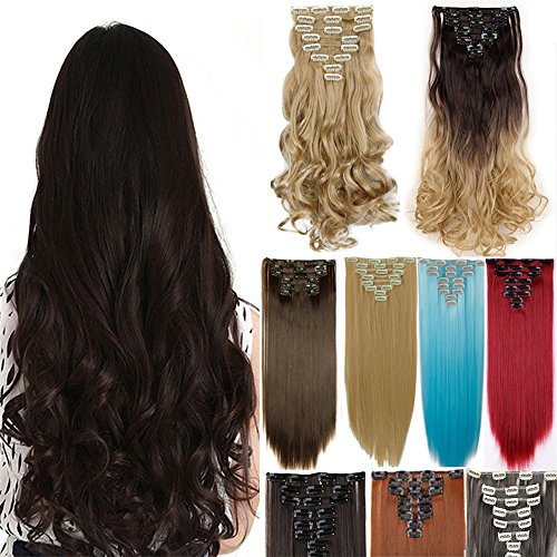8PC Full Head Clip in Hair Extensions Real Natural as Human Synthetic Thick Hair