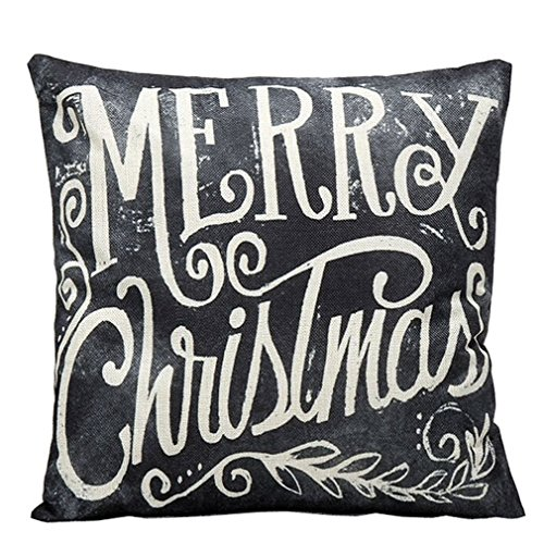 MONOMONO-Colorful Christmas Deer Square Elegant Linen Blend Pillow Case Cushion Cover - Springs Coral Map Mall