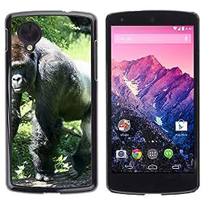 Hot Style Cell Phone PC Hard Case Cover // M00135521 Gorilla Ape Grey Back White Back Zoo // LG Nexus 5