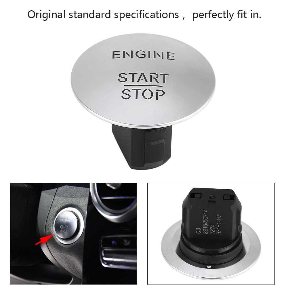 Car Ignition Switch Keyless Start Stop Push Button Engine Ignition Switch for Mercedes 2215450714 Silver