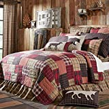 1 Piece lodge Quilt King, Unique Patchwork Cabin Pattern, Gorgeous Rustic, Plaid, Stripe Fabric Design, Indian Traditional Classic Style, Block Reversible Bedding, Khaki Brown, Red, Tan Color Unisex
