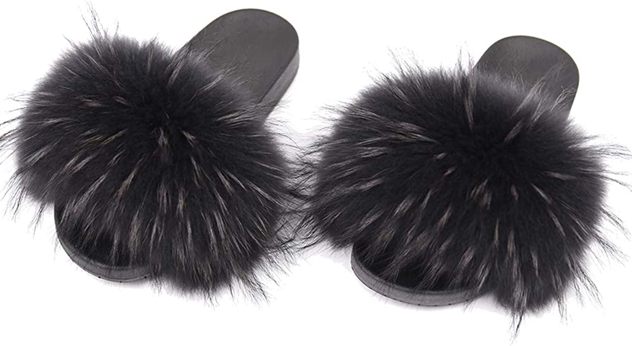 2021 Max Large XXL Real Fox Fur Slides Womens Sliders Slippers Sandals Shoes