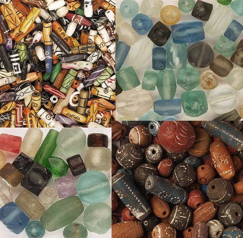 Beads, All Recycled - Terra Cotta, Bone, Recycled Glass, Antique Gift Bead - 76+ Pcs