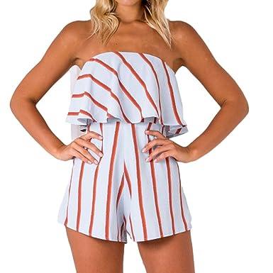 c59e488f898 Kingko® Women Fashion Summer Off Shoulder Playsuit Ladies Sleeveless Jumpsuit  Beach Bandeau Dress (S