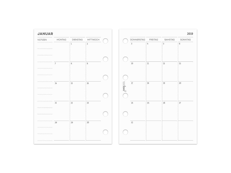 2019 Monatsüberischt für Ringplaner & Organizer - Pocket - 81x120mm - 1 Monat auf 2 Seiten - fortlaufend pen & pages