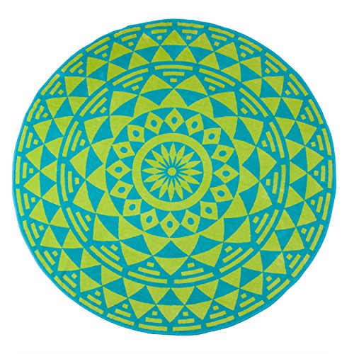 Lime Medallion (Superior Round Beach Towel, 100% Premium Cotton, 5 Stylish Mandala Beach Towel Designs, Super Soft, Plush and Highly Absorbent Circle Beach Towels - Molinillo Turquoise and Lime Green Medallion)