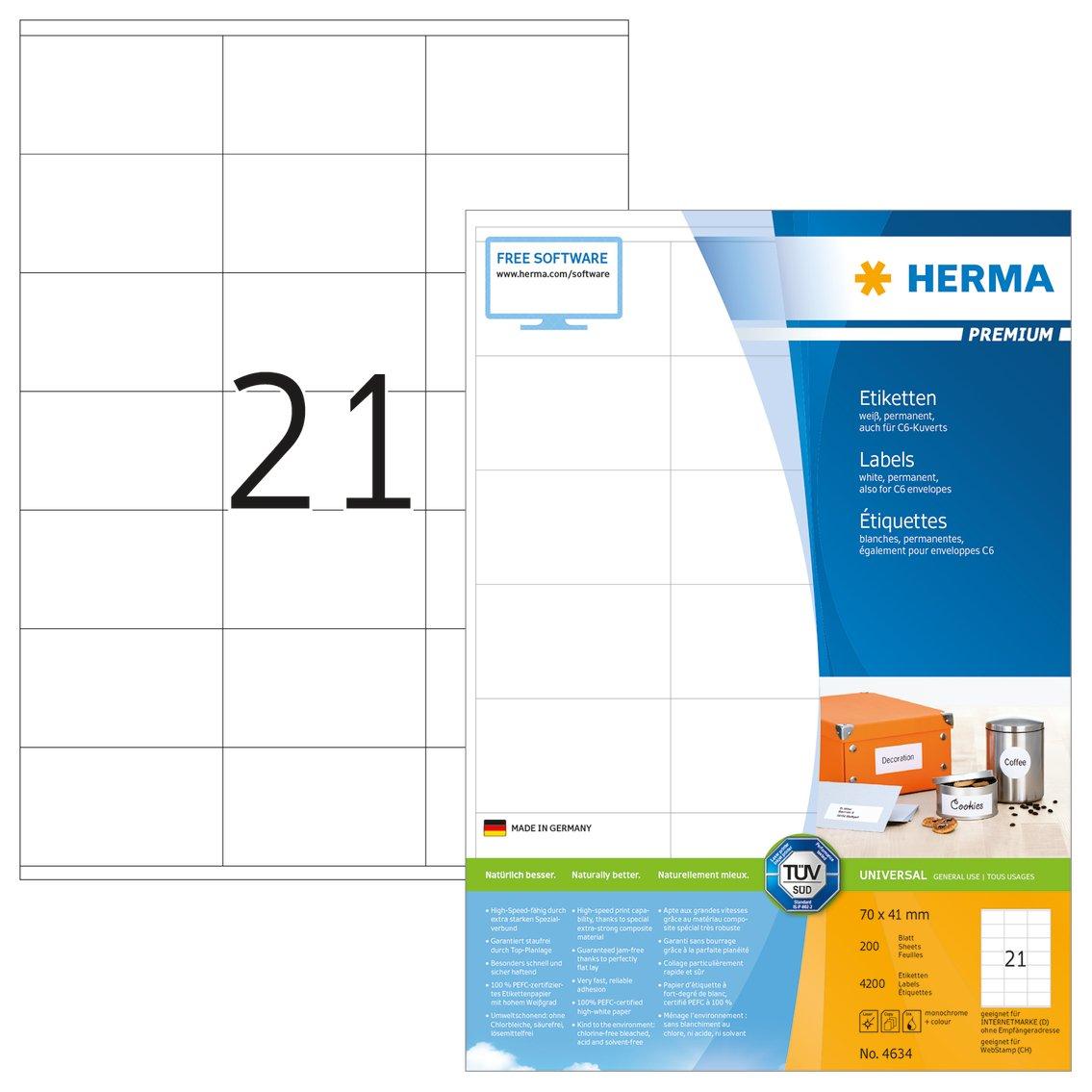 HERMA Premium - Permanent self-adhesive matte laminated paper labels - weiß