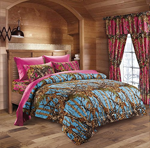 20 Lakes Luxurious Microfiber Powder Blue & Hot Pink Camo Comforter & Sheet Set Bed in a Bag - Full