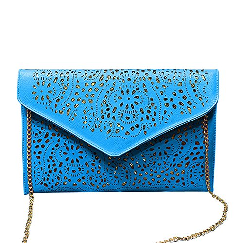 Hollow Lady Envelope Style Vintage Hrph Fashion Out Cutout Women Blue Chain Shoulder Bags Clutches Day Bag Handbags 6TTwR7Yq