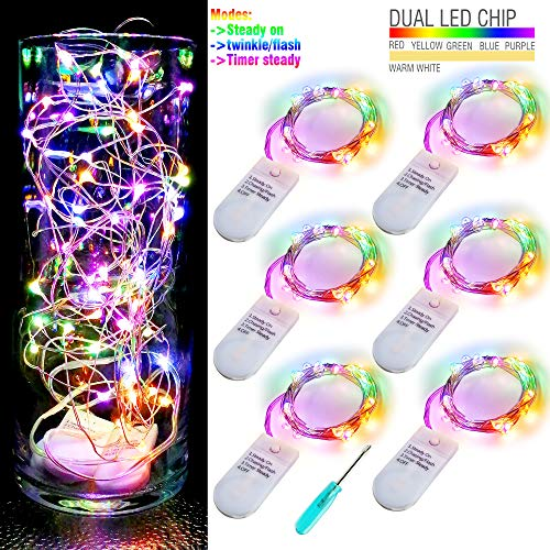 - 6pcs Multicolor Fairy Lights 3 Modes Twinkle Lights with 20 LED Starry String Lights on 6.5ft Silver Wire,Fairy Lights Battery Powered by 2xCR2032 for Party,Wedding,Christmas Tabel Decor,Warm White
