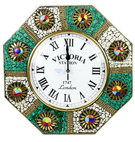 Cultural Multicolor Marble Gems Stones Embedded Handmade Nautical Time's Clock   Nagina (Gemstone Clock)