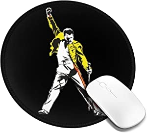 Mouse Pad Customized Freddie Mercury Non-Slip Waterproof Rubber Base Mousepad with Stitched Edge for Laptop Computer Office Gaming Desk Round Mouse Pad