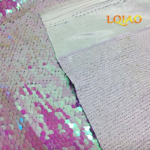 Yards Enough Up Mermaid LQIAO 5 Mesh Yard White Fabric for By Fabric Sequin Iridescent Sequin Flip Dresses Embroidery the Reversible Shiny Lavender 0 xqwCBH