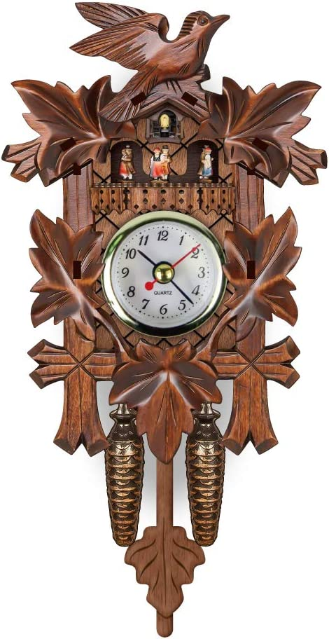 8KB24 Coo Coo Clock Cuckoo Wall Clock with Swinging Pendulum - No Coo Coo Sound But Cute Decorative Wall Clocks for Home Livingroom Decor (Carved Style-2)