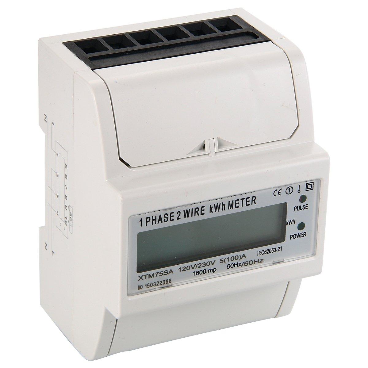 XCSOURCE 50Hz 230V 100A Fase 1 Metro de la energ/ía del LCD Fase medidor /único de DIN-Rail BI105