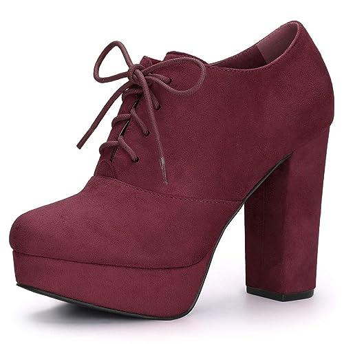 online retailer c035f 0e520 Allegra K Damen Wildleder Blockabsatz High Heels Plateau Boots Stiefel
