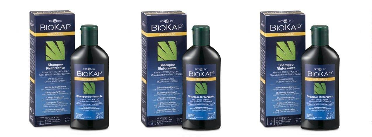Biosline - BIOKAP Champú Anticaída rinforzante Tricofoltil 3 paquetes de 200 ml, antisalpicaduras, rinforzante, uso periódico: Amazon.es: Belleza