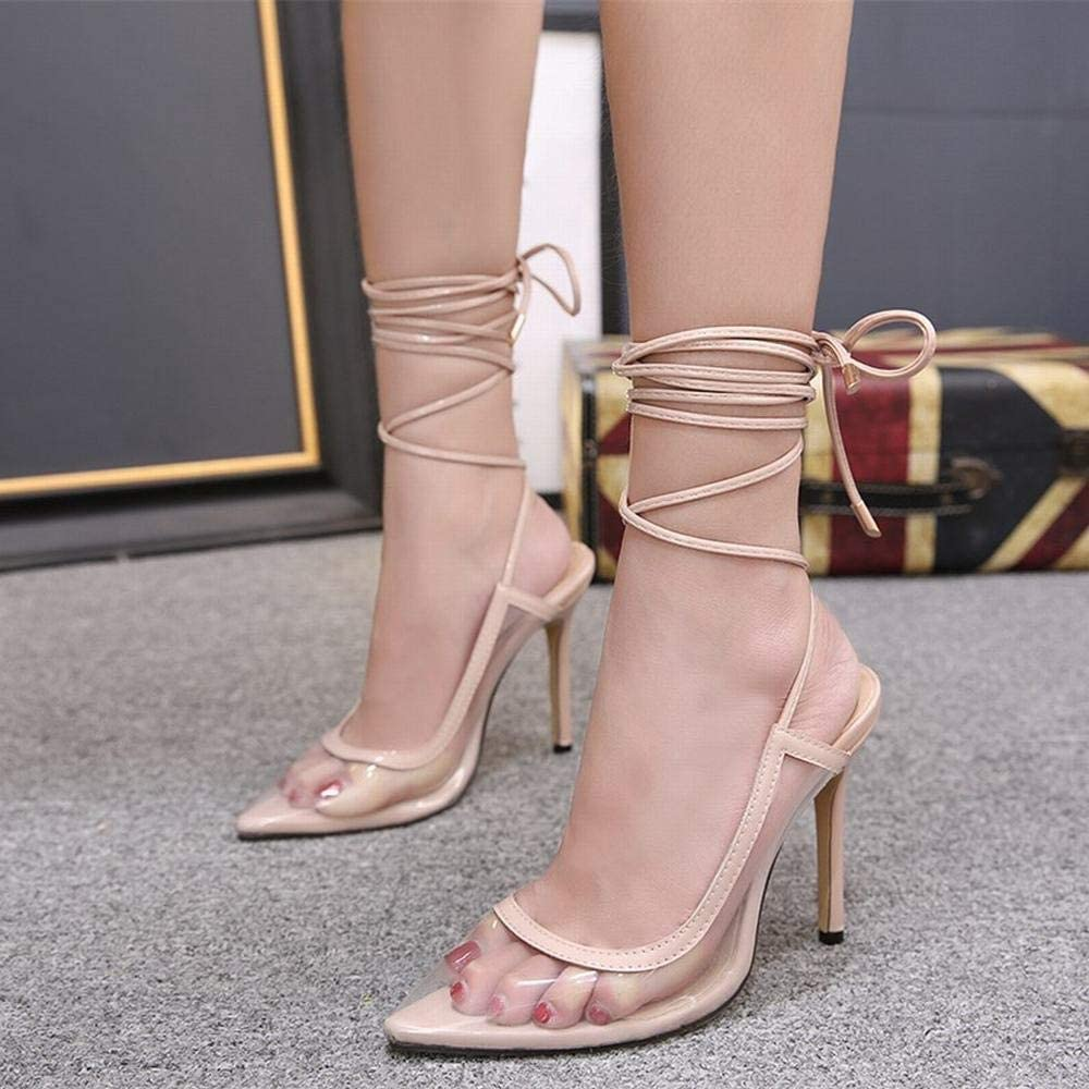 Vfdsvbdv Womens High-Heeled Pointed Transparent Straps Super High-Heeled Womens Shoes Color : Apricot, Size : 37
