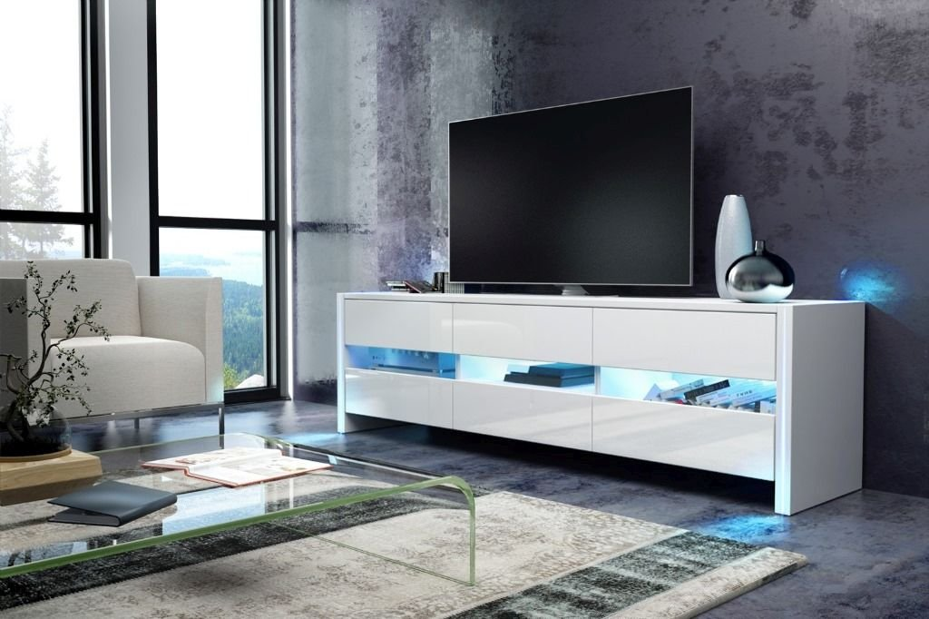 Amazing Finest Tv Schrank Lowboard Sideboard Sky Wei Matt Wei Hochglanz Mit  Led Amazonde Kche U Haushalt With Tv Hngeschrank With Wei Matt
