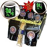 Dream Essence Designs St Patricks Day - A pretty shamrock clover design on a dark background with little silvery white butterflies - Coffee Gift Baskets - Coffee Gift Basket (cgb_11686_1)