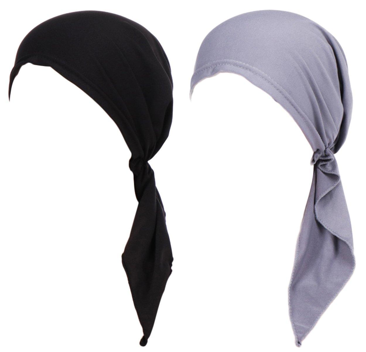 Summer Chemo Scarf Lightweight Silky Beanie Ruffle Cap Cancer Headwear for Womens (Black+Grey)