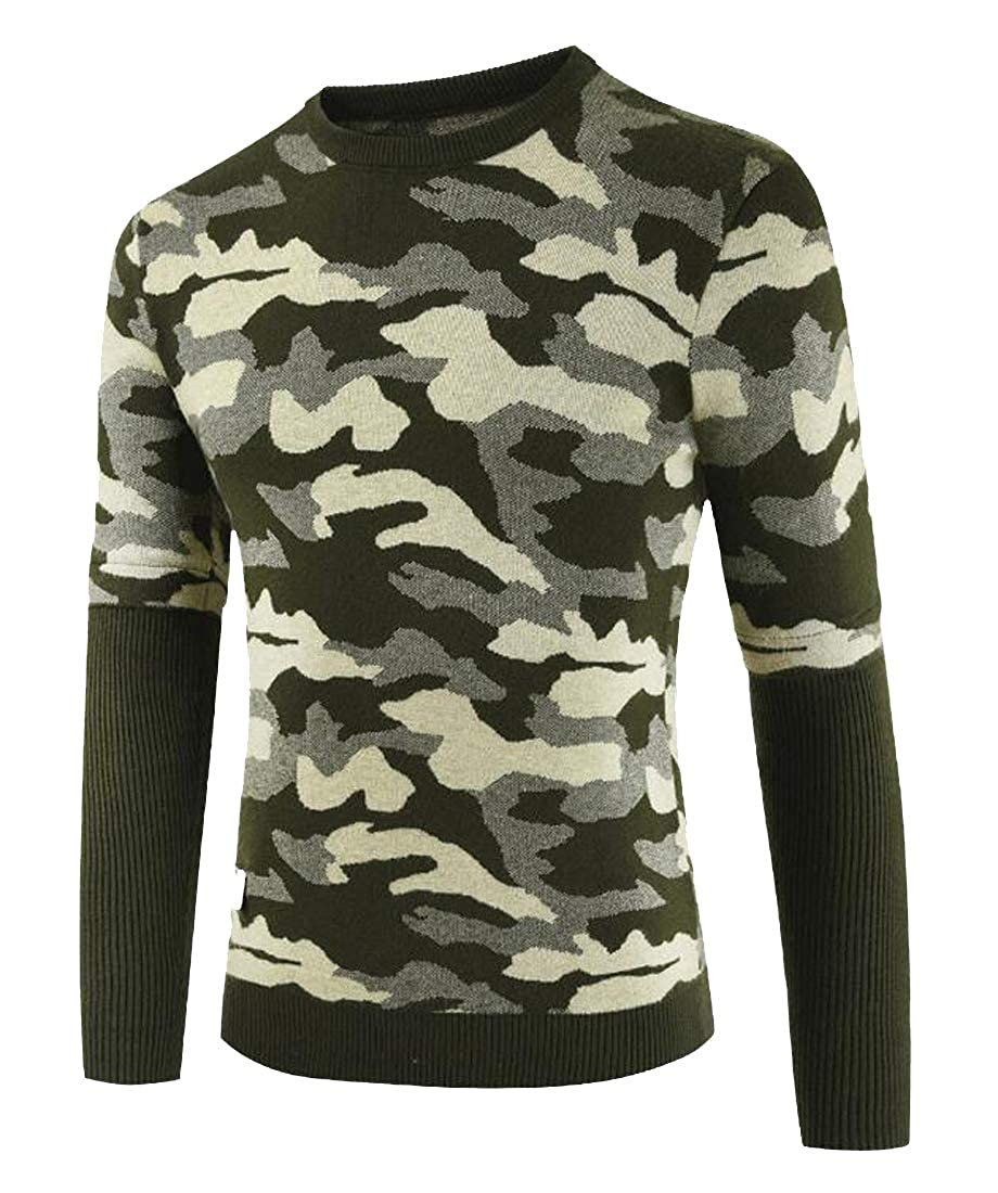Jofemuho Mens Crew Neck Knitted Slim Fit Camouflage Stitching Long Sleeve Pullover Sweater