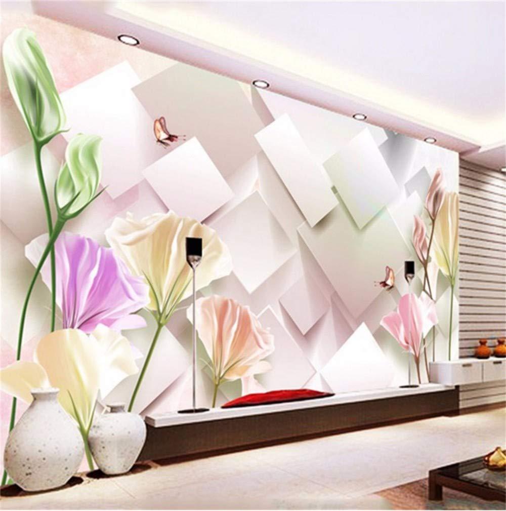 Weaeo 四角い花の蝶カスタム壁紙壁3D壁紙のための壁画3D壁紙ホームデコレーション -250X175Cm B07HCD9J3T 250X175CM 250X175CM