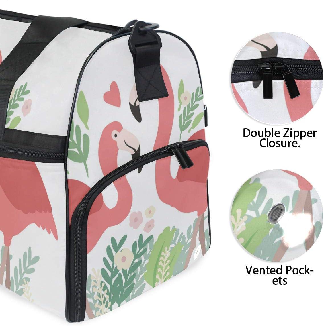 Lightweight Water Resistant Tear Resistant FANTAZIO Love Flamingo Sports Bag Packable Travel Duffle Bag