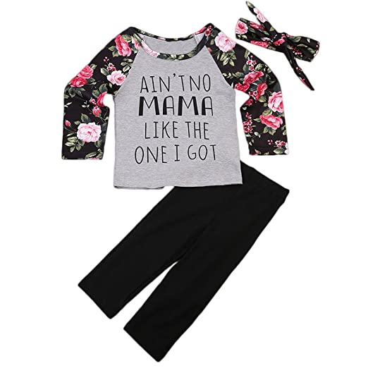 d5e2c400a8c3 Amazon.com: ONE'S Toddler Girls Floral Outfits Long Sleeve Tshirt+ ...