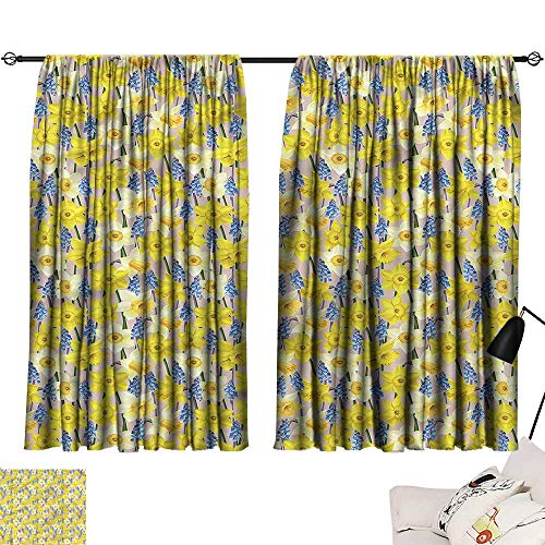 Anyangeight Door Curtain Daffodils,Muscari Blossoms Stems 84