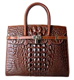PIFUREN Women Top Handle Handbags Satchel Shoulder Tote Crocodile Bag E72130(35CM, 35cm Brown)