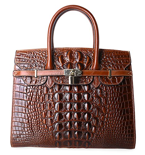 35 Birkin Bag - PIFUREN Women Top Handle Handbags Satchel Shoulder Tote Crocodile Bag E72130(35CM, 35cm Brown)
