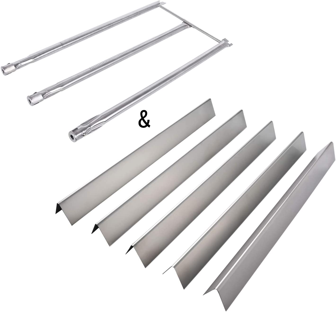 GasSaf 22.5 inch Flavorizer Bar and 28 1/8 inch Burner Tube Replacement for Weber 7536, 7508, Spirit E310 E320, Genesis Silver B C, Genesis Platinum B C, Weber 900 (with Side Control Knobs)