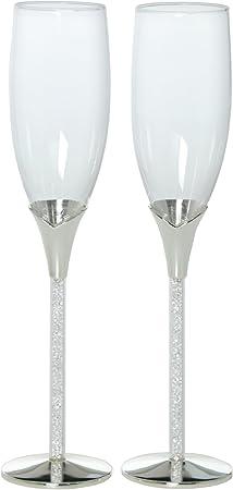 DONREGALOWEB Set de 2 Copas de Cava de Cristal con pie Plateado y Caja Regalo para Bodas o Aniversarios: Amazon.es: Hogar